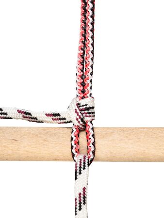 rolling hitch knot tied on synthetic rope cut out on white background