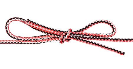 double bowknot knot tied on synthetic rope cut out on white background Banco de Imagens - 124951365