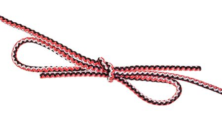 another side of double bowknot knot tied on synthetic rope cut out on white background