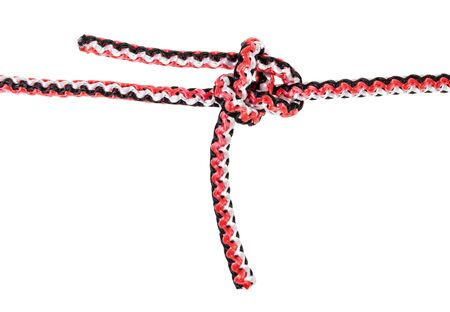 another side of heaving line bend knot tied on synthetic rope cut out on white background Banco de Imagens - 124951373