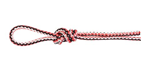 surgeon's loop knot tied on synthetic rope cut out on white background