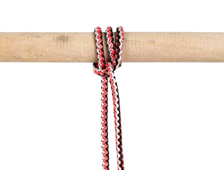 Magnus hitch knot tied on synthetic rope cut out on white background Фото со стока