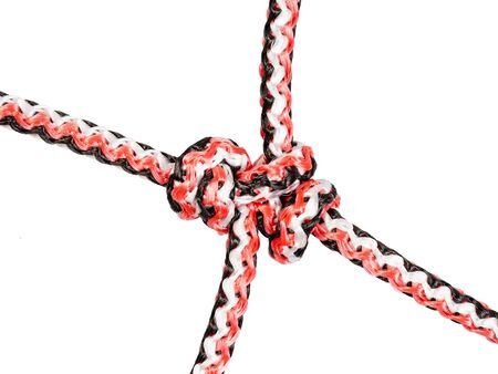 barrel knot (blood knot) close up tied on synthetic rope cut out on white background Banco de Imagens - 124951326