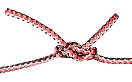 another side of dagger knot tied on synthetic rope cut out on white background