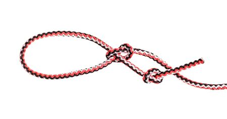 knot tied on synthetic rope cut out on white background 写真素材