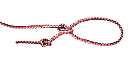 another side of knot tied on synthetic rope cut out on white background