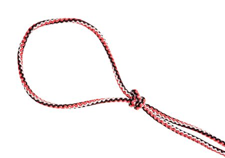 loop of strangle snare knot tied on synthetic rope cut out on white background Stok Fotoğraf