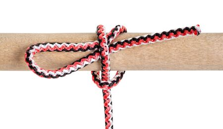 slipped half hitch knot tied on synthetic rope cut out on white background