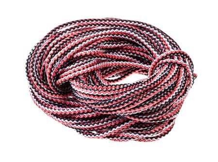 bight of multicolour synthetic rope cut out on white background