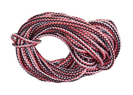 bight of multicolour rope cut out on white background