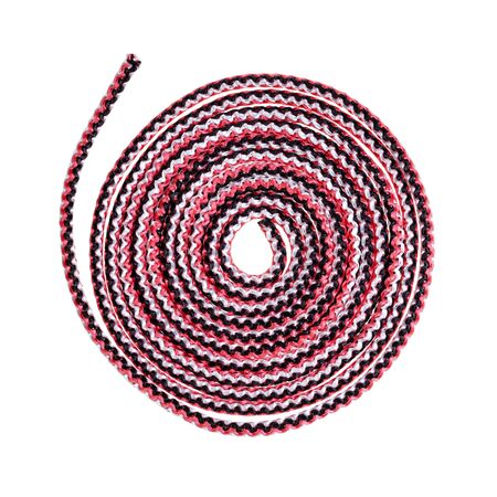 coiled multicolour synthetic rope cut out on white background