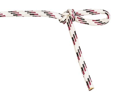 figure-eight knot with draw-loop tied on synthetic rope cut out on white background Stock Photo