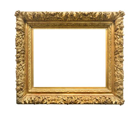 retro wide ornamental baroque painting frame painted in gold color cutout on white background