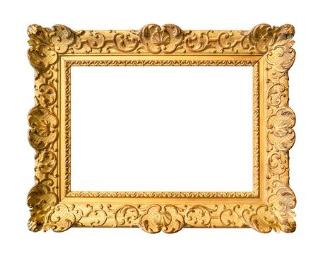ancient wide decorated baroque painting frame painted in gold color cutout on white background