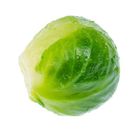 wet ripe brussels sprout cutout on white background