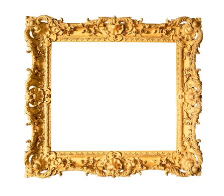 old wide ornamental baroque painting frame painted in gold color cutout on white background