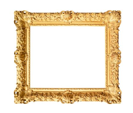 old wide decorated baroque painting frame painted in gold color cutout on white background