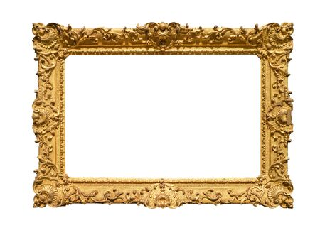 cadre de peinture baroque rétro large décoré peint en découpe de couleur or sur fond blanc Banque d'images