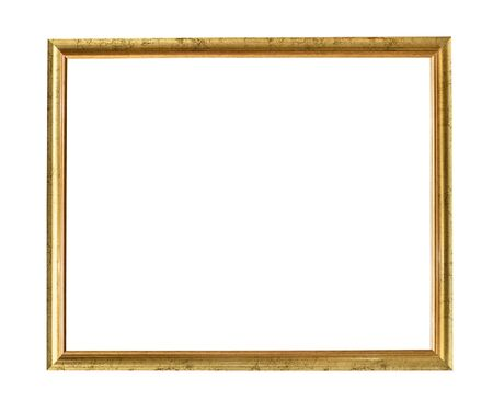 old narrow simple wooden painting frame painted in gold color cutout on white background