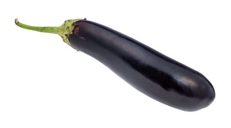 ripe fresh long dark purple eggplant cutout on white background