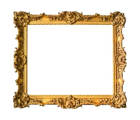 ancient wide ornamental baroque painting frame painted in gold color cutout on white background