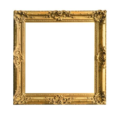 retro wide decorated baroque painting frame painted in gold color cutout on white background Banque d'images