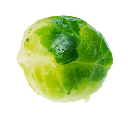 wet green brussels sprout cutout on white background