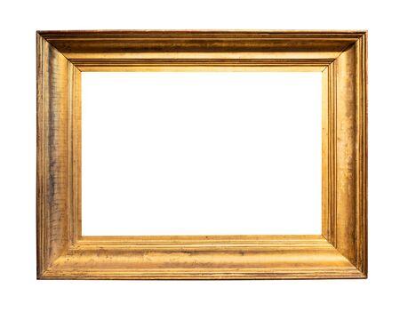 Marco de imagen de madera ancha simple vintage pintado en recorte de color dorado sobre fondo blanco.