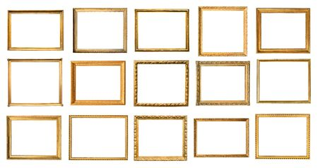 set of various vintage wooden picture frames cut out on white background