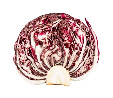 cross-section of head of radicchio (Italian leaf chicory) cut out on white background