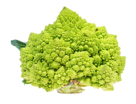 side view of fresh romanesco broccoli cabbage cutout on white background Stock Photo