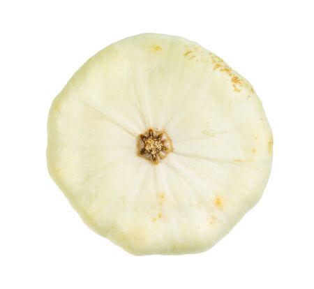 organic white squash patisson cutout on white background