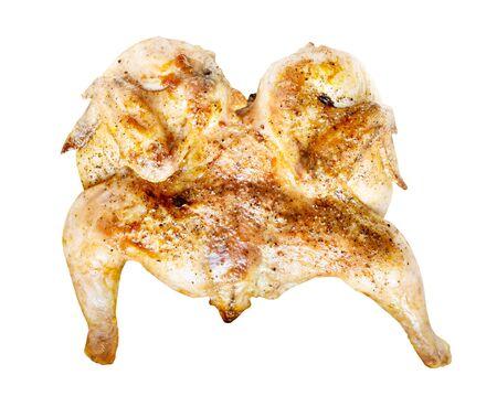 Georgian cuisine - flattened fried chicken tabaka cutout on white background