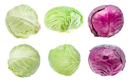 various fresh head cabbages cut out on white background Banco de Imagens