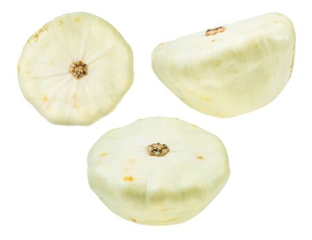 various fresh patisson white squashes cut out on white background Banco de Imagens