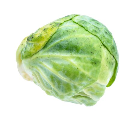 green fresh brussels sprout cut out on white background