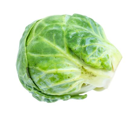 ripe fresh brussels sprout cut out on white background