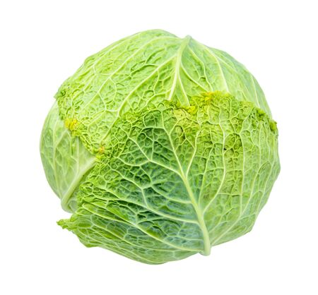 green savoy cabbage cut out on white background