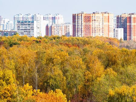 modern residential district and colorful city park on sunny autumn day