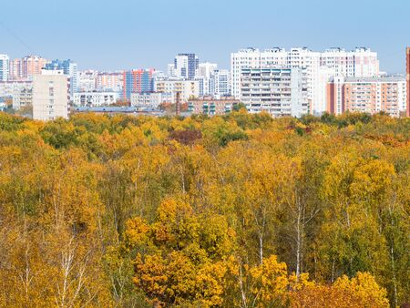 modern residential district and yellow city park on sunny autumn day