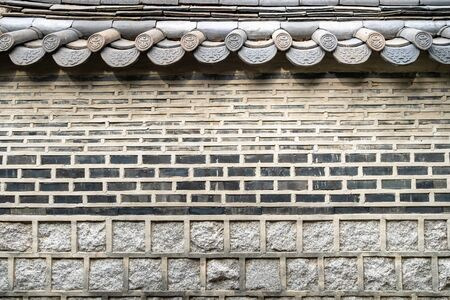Old brick fence in Jongno district of Seoul city