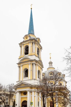 bell tower of Church of the Ascension on Gorokhovo Pole in Basmanny District of Moscow city. The church was built in 1788-1793 by Russian Neoclassical architect Matvey Fedorovich Kazakov
