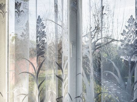 window with nylon tulle in country house in sunny winter day