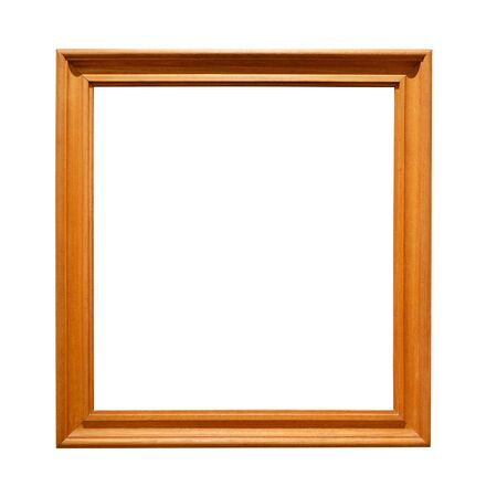 oak wooden square picture frame cutout on white background