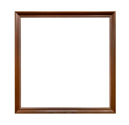 carved wooden square narrow dark brown picture frame cutout on white background