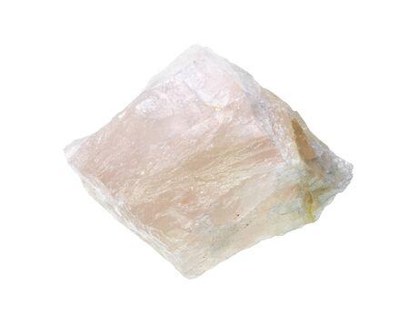 unpolished calcite rock cutout on white background