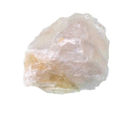 rough pink fluorite rock cutout on white background