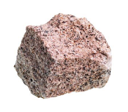unpolished aplite rock cutout on white background