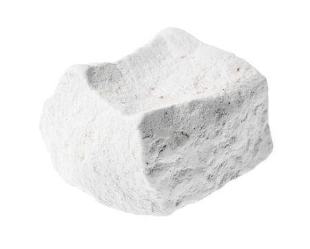 unpolished chalk (white limestone) rock stone on white background