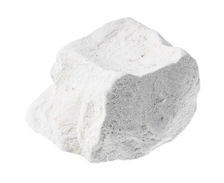 unpolished chalk (white limestone) rock cutout on white background Фото со стока